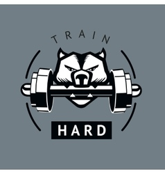 Angry dog with dumbbells sports motivation poster vector