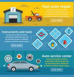 Auto car repair banner horizontal set flat style vector