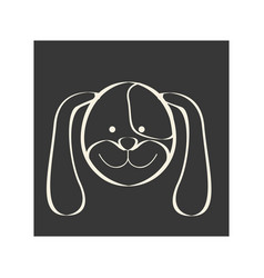 Black square picture of dog animal vector