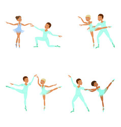 Boy and girl ballet dancers vector