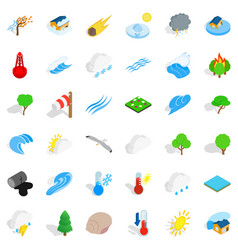 Calm nature icons set isometric style vector