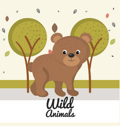 cartoon bear wild animal with falling leaves vector image