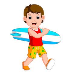cartoon little kid holding surfboard vector image vector image