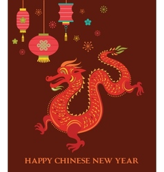 Chinese New Year background with red dragon vector image