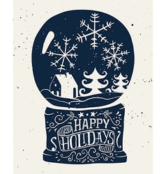 Christmas card bowl with snow ink sketch vector