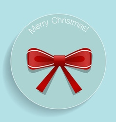 Christmas greeting card with shiny red ribbon vector