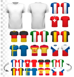 Collection of various soccer jerseys the t-shirt vector