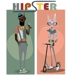 cute fashion hipster dog and cat vector image vector image