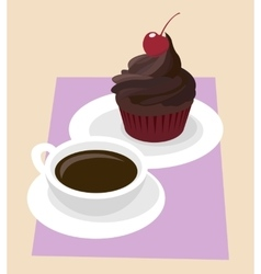 Dark Chocolate cupcake icing with cherry in red vector image
