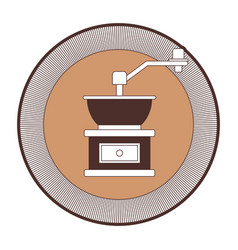 Decorative circular logo of coffee grinding with vector