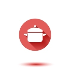 Flat long shadow saucepan icon vector