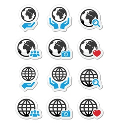 Globe earth with hands icons set vector