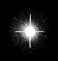 Graffiti sprayed star shape in white on black vector