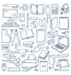 Hand drawn office seamless pattern vector