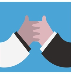 Hand shaking isolated on blue vector