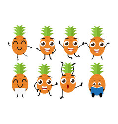 happy pineapple cartoon character vector image vector image