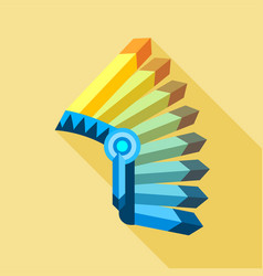 Indian feather headdress icon flat style vector