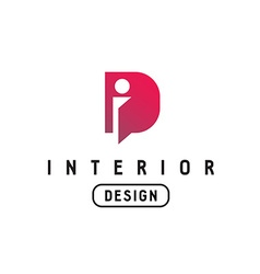 Letter I and D monogram logo Interior design vector image vector image