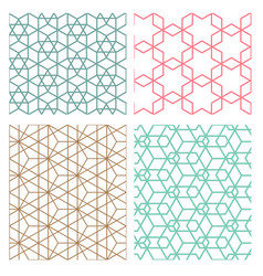 Mesh geometric seamless pattern in modern korean vector