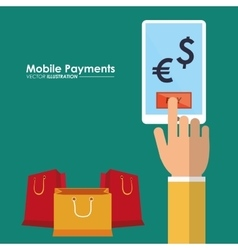 Mobile payments hand with smartphone shop money vector