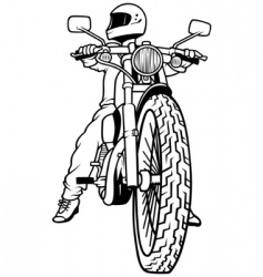 motorcycle and rider vector image