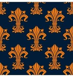 Orange and blue fleur-de-lis seamless pattern vector image vector image