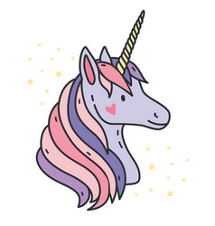portrait of cute unicorn purple fantasy animal vector image