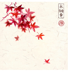 Red japanese maple leaves on handmade rice paper vector
