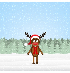 reindeer in the winter forest Christmas vector image