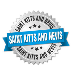 Saint kitts and nevis round silver badge with vector