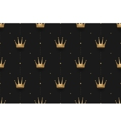 Seamless gold pattern with king crowns on a dark vector