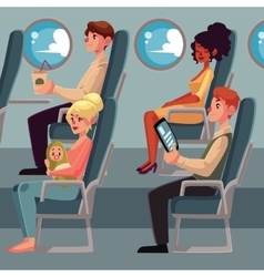 Set of airplane passengers seating in economy vector