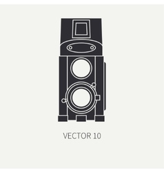 Silhouett flat icon with retro analog film vector