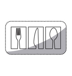 Silhouette symbol cutlery food icon vector
