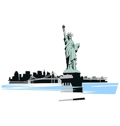statue of liberty in the background of the bridge vector image