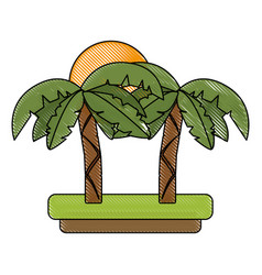 tree palms and sun vector image vector image
