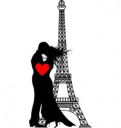 vector romance Paris silhouette vector image vector image