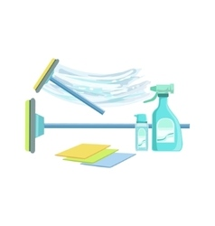 Window washing household equipment set vector
