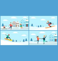 Winter sport and activities vector
