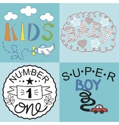 Four kids logo handwriting baby kids super boy vector