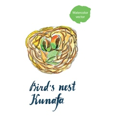 Birds nest kunafa vector
