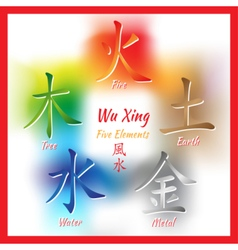 Five feng shui elements set vector