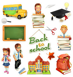 School and education 3d icon set Funny cartoon vector image