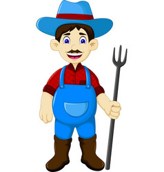 Funny male farmer cartoon holding rake vector