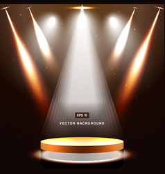 Gold stage with spotlight and star on brown vector