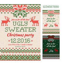 Ugly sweater christmas party cards knitted vector