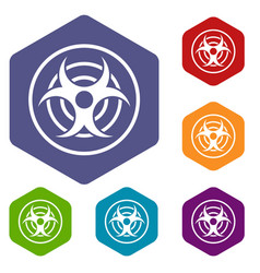 Sign of biological threat icons set hexagon vector