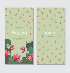 Template for wedding or greeting card with cyclame vector