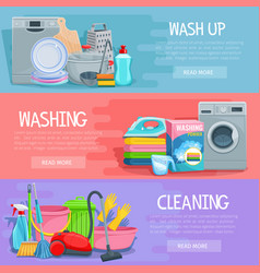 Banners for home cleaning and washing vector