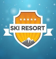 Logotype ski resort five star vector